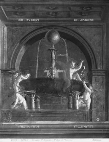 ADA-F-002262-0000 - Putti playing around a fountain, fresco, Antonio di Jacopo Benci said Antonio Pollaiuolo (n. 1431 or 1432, m. 1498), Hall of the Labours of Hercules, the Palazzo Venezia, Rome - Date of photography: 1902 - Alinari Archives-Anderson Archive, Florence