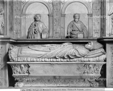 ADA-F-003184-0000 - Funeral monument of Cardinal Alano Vescovo di Sabina, detail, marble, Andrea Bregno (1418-1503) (follower of), Church of Santa Prassede, Rome - Date of photography: 1890 ca. - Alinari Archives-Anderson Archive, Florence