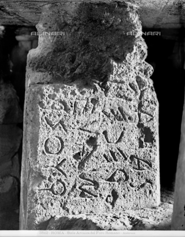 ADA-F-003512-0000 - Stele or Cippo from Niger Lapis written in archaic Latin, Roman work of the VI sec.a.C., Roman Forum - Date of photography: 1890 ca. - Alinari Archives-Anderson Archive, Florence