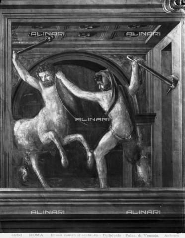 ADA-F-004256-0000 - Hercules and the Centaur Nessus, fresco, Antonio di Jacopo Benci said Antonio Pollaiuolo (n. 1431 or 1432, m. 1498), Hall of the Labours of Hercules, the Palazzo Venezia, Rome - Date of photography: 1904 - Alinari Archives-Anderson Archive, Florence