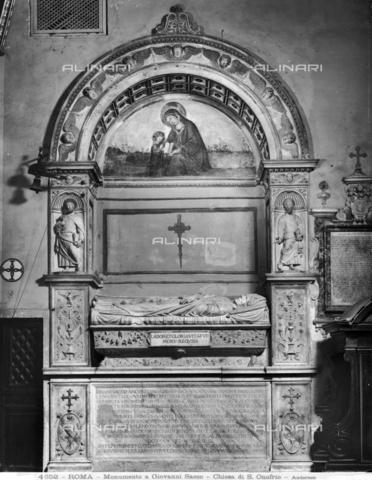 ADA-F-004652-0000 - Funeral monument of Bishop Giovanni Sacco, marble, Andrea Bregno (1418-1503) (School of), Church of Sant'Onofrio al Gianicolo, Rome - Date of photography: 1890 ca. - Alinari Archives-Anderson Archive, Florence
