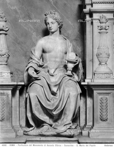 ADA-F-004990-0000 - Monument of Cardinal Ascanio Sforza, detail, marble, Andrea Sansovino (1467-1529), Church of Santa Maria del Popolo, Rome - Date of photography: 1890 ca. - Alinari Archives-Anderson Archive, Florence