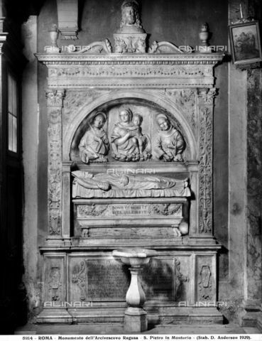ADA-F-005214-0000 - Funeral monument by Giuliano da Volterra archbishop of Ragusa, marble, 15th century Roman unknown, Church of San Pietro in Montorio, Rome - Date of photography: 1929 - Alinari Archives-Anderson Archive, Florence
