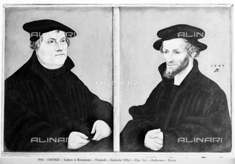ADA-F-007916-0000 - Portraits of Martin Luther and Filippo Melantone, Dictator, Oil on Table, Cranach, Lucas the Old (Kronach 1472, Weimar 1553) and workshop, Uffizi Gallery, Florence - Date of photography: 1890 ca. - Alinari Archives-Anderson Archive, Florence