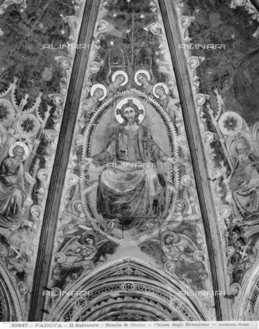 ADA-F-010447-0000 - The Savior surrounded by angels, fresco, Guariento (active 1338/1370), vault of the apse, church of the Eremitani, Padua - Date of photography: 1900 ca. - Alinari Archives-Anderson Archive, Florence