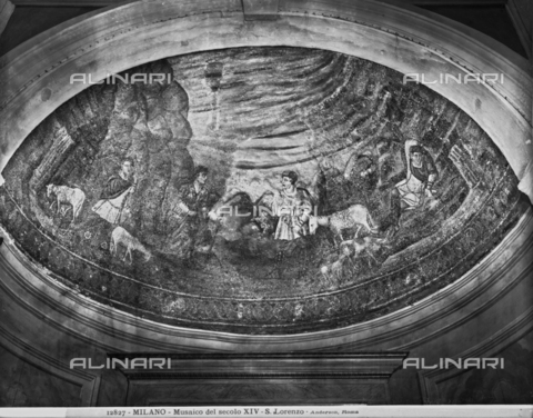 ADA-F-012827-0000 - Sol Invictus, Mosaic, Early Christian Art of the Fifth Century, St. Aquilino Chapel, Basilica of San Lorenzo Maggiore, Milan - Date of photography: 1912 - Alinari Archives-Anderson Archive, Florence