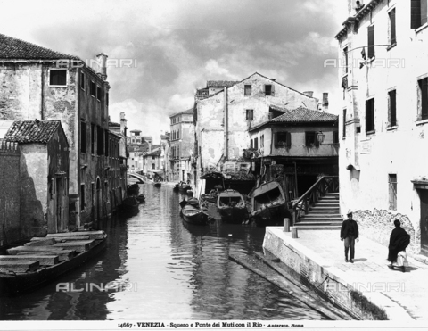 ADA-F-014667-0000 - View of The Squero (site for rowing boats) and the Ponte dei Muti with the Rio, Venice