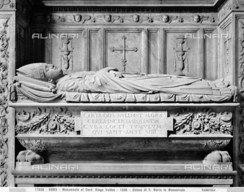 ADA-F-017838-0000 - Funeral monument of Cardinal Diego Valdes, bishop of Zamora, detail, marble, Roman Ignoto from the 16th century, Church of Santa Maria in Monserrato, Rome - Date of photography: 1917 - Alinari Archives-Anderson Archive, Florence