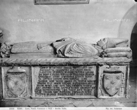 ADA-F-020501-0000 - Funeral monument of Cardinal Pietro Fonseca, marble, Paolo Taccone known as Paolo Romano (1450), Vatican Grottoes, St. Peter's Basilica, Vatican City - Date of photography: 1920 - Alinari Archives-Anderson Archive, Florence