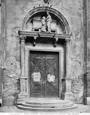 ADA-F-027304-0000 - Portal of the Church of Sant'Apollinare (or Sant'Aponal) with the funeral monument to Vettore Cappello, marble, Antonio Rizzo (around 1466-1498) (attr.), Venice. Today the monument is located on the facade of the Church of Sant'Elena in Venice - Date of photography: 1927 - Alinari Archives-Anderson Archive, Florence