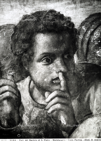 ADA-F-041119-0000 - Youth holding his index finger to this mouth in a sign of silence. Detail of a fresco of Michelangelo with the Martyring of San Paolo. Paolina Chapel, Vatican City. - Data dello scatto: 1941 ca. - Archivi Alinari, Firenze