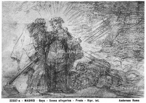 ADA-F-22337A-0000 - Allegorical scene; drawing by Francisco Goya, located at the Prado Museum in Madrid - Data dello scatto: 1922 ca. - Archivi Alinari, Firenze