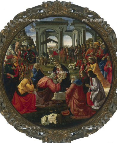 AGC-F-000206-0000 - 'Adoration of the Magi', by Ghirlandaio in the Uffizi Gallery in Florence. The painting shows the Mandonna with the Child on her lap showing him to a group of persons, among whom are the three Kings and Saint Joseph. In the background, before a fantastic classic structure with large arches, a crowd of people and a few soldiers are watching the scene - Date of photography: 1990 - Alinari Archives, Florence, Reproduced with the permission of Ministero per i Beni e le Attività Culturali
