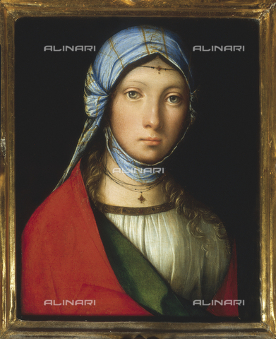 AGC-F-000212-0000 - 'Gypsy girl', by Boccaccio Boccaccino, in the Uffizi Gallery in Florence. The young woman is shown half-length, with a red cloak draped over her left shoulder. A cloth frames her face and she has a small circlet on her forehead - Date of photography: 1990 - Alinari Archives, Florence, Reproduced with the permission of Ministero per i Beni e le Attività Culturali