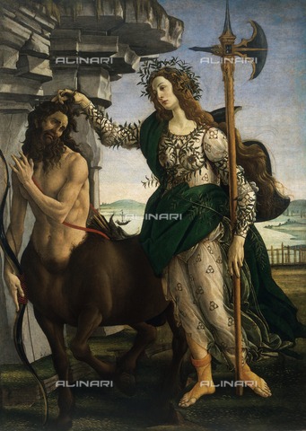 AGC-F-000214-0000 - 'Pallas taming the Centaur', by Sandro Botticelli, in the Uffizi Gallery in Florence. The painting shows the goddess Athena holding the Centaur by his hair. The garments of the goddess are covered with intertwining branches and she has a spear in one hand. In the background a marine landscape - Date of photography: 1990 - Alinari Archives, Florence, Reproduced with the permission of Ministero per i Beni e le Attività Culturali