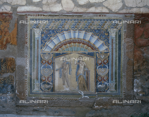 AGC-F-000228-0000 - Mosaic with Amphitrite on the right and Neptune on the left. All around floral and geometric ornaments. The mosaic decorates the back of a summer triclinium in the atrium of the house of Neptune and Amphitrite in Herculaneum - Date of photography: 1989 - Alinari Archives, Florence, Reproduced with the permission of Ministero per i Beni e le Attività Culturali
