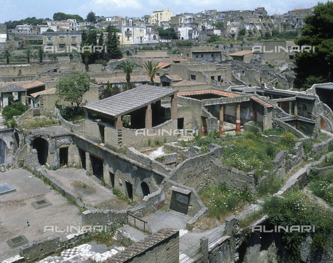AGC-F-000236-0000 - Panorama of the archaeological remains of the city of Herculaneum. In the distance the modern buildings of the city can be seen - Date of photography: 1989 - Alinari Archives, Florence, Reproduced with the permission of Ministero per i Beni e le Attività Culturali