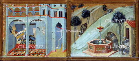 AGC-F-001906-0000 - Panel paintings by Pietro Lorenzetti of 'Sobac's dream' and 'The hermits at the well'. They are in the National Gallery in Siena - Date of photography: 1994 - Alinari Archives, Florence, Reproduced with the permission of Ministero per i Beni e le Attività Culturali