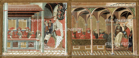 AGC-F-001907-0000 - Panel paintings by Pietro Lorenzetti of 'Honorius IV approving the Carmelite Rule'. The works are in the National Gallery in Siena - Date of photography: 1994 - Alinari Archives, Florence, Reproduced with the permission of Ministero per i Beni e le Attività Culturali