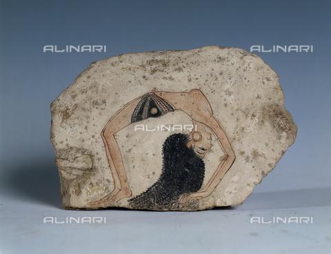 AGC-F-001979-0000 - Dipinto egizio su calcare raffigurante una danzatrice acrobatica. Il reperto è conservato presso il Museo Egizio di Torino - Data dello scatto: 1995 - Archivi Alinari, Firenze
