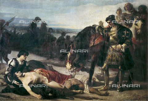"AIS-F-015600-0000 - Los dos caudillos: Gonzalo Fernandez de Cordoba, ""The Great Captain"" in front of the corpse of the count of Nemours after the Battle of Ceriñola, oil on canvas, Casado del Alisal, José (1830-1886), Prado Museum, Madrid - Iberfoto/Alinari Archives"