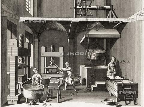 "AIS-F-021632-0000 - Pharmaceutical laboratory, engraving for the volume of Diderot's ""Encyclopedie, ou Dictionnaire Raisonne des Sciences, des Arts et des Metiers,"" National Library of Catalonia, Barcelona - Iberfoto/Alinari Archives, BeBa"