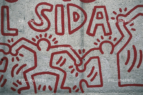 AIS-F-036463-0000 - Together we can stop AIDS, detail, painting, Keith Haring (1958-1990), the district El Raval, Barcelona - Iberfoto/Alinari Archives, J. Bedmar