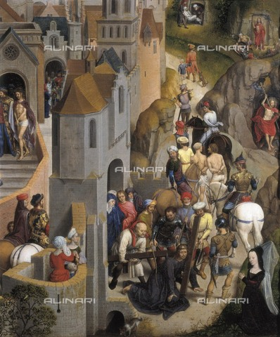 AIS-F-065170-0000 - The Passion of Jesus, detail depicting Jesus falling and is helped by Simon of Cyrene, oil on board, Hans Memling (about 1430-1494), Savoy Gallery, Torino - Iberfoto/Alinari Archives, BeBa