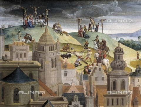 AIS-F-065171-0000 - The Passion of Jesus, detail depicting the Calvary, oil on board, Hans Memling (about 1430-1494), Savoy Gallery, Torino - Iberfoto/Alinari Archives, BeBa