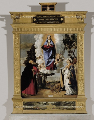 AIS-F-065309-0000 - Apparition of the Virgin between St. Anthony Abbot and St. Louis, oil on panel, Lorenzo Lotto (1480-1556), the Cathedral of Santa Maria Assunta, Asolo - Iberfoto/Alinari Archives, BeBa
