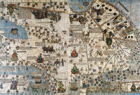 AIS-F-099828-0000 - CRESQUES, Jafuda (1350-1410); CRESQUES, Abraham ( -1381). Catalan Atlas. 1375. Fifth and Sixth Leaves. Map of Delli and Map of Catai (China). Representation of the Asian continent. Reproduction of the original in the National library of Paris. Miniature P - Iberfoto/Alinari Archives, J. Bedmar