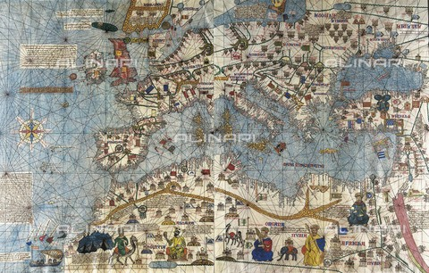 AIS-F-099829-0000 - CRESQUES, Jafuda (1350-1410); CRESQUES, Abraham ( -1381). Catalan Atlas. 1375. Third and Fourth Leaves. Map of the world known in the 14th c. (Finisterre and the Mediterranean). The first representation of the compass rose. Reproduction of the original, w - Iberfoto/Alinari Archives, J. Bedmar
