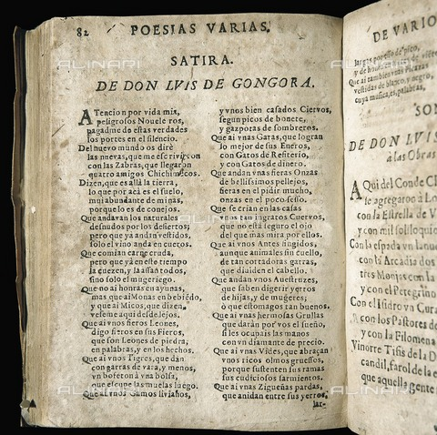 "AIS-F-100188-0000 - GONGORA Y ARGOTE, Luis de (1561-1627). Spanish poet from the Golden Century. ""Sà¡tira"" (Satire), poem included in the compilation ""Poesà­as varias de grandes ingenios espaà±oles"", made by Iosef Alfay and printed in Saragossa by Juan de Ybar (1654). SPAIN. Ba - Iberfoto/Alinari Archives, J. Bedmar"