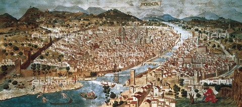 AIS-F-110092-0000 - Carta della Catena. View of Florence in 1490. Renaissance art. Painting. ITALY. Florence. Firenze Com'era Historical and Topographical Museum. - Iberfoto/Alinari Archives, BeBa
