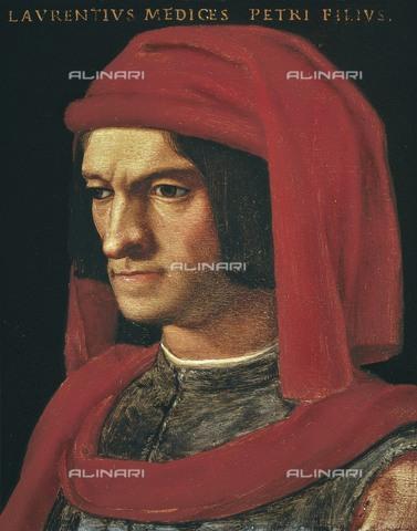 AIS-F-110100-0000 - BRONZINO, Agnolo di Cosimo di Mariano, also called Il (1502-1572). Portrait of Lorenzo the Magnificent. 16th c. Mannerism art. Oil. ITALY. Florence. Uffizi Gallery, Florence - Iberfoto/Alinari Archives, BeBa