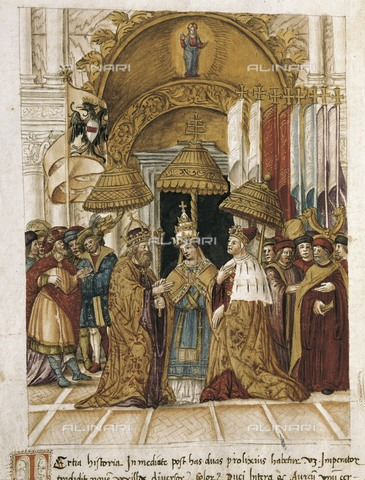AIS-F-110127-0000 - Meeting between the Pope Alexander III and the emperor Frederick I Barbarossa in Venice in 1177. Miniature Painting. - Iberfoto/Alinari Archives, BeBa