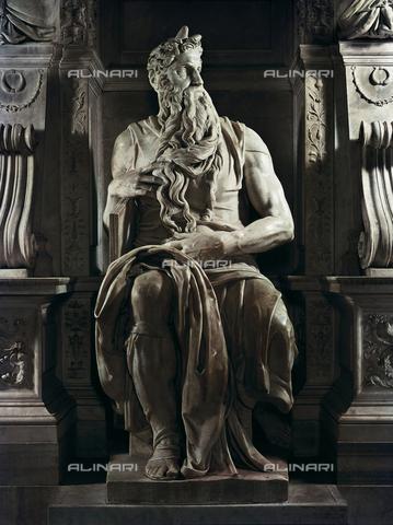 AIS-F-110129-0000 - Michelangelo (1475-1564). Moses. 1513-1515. ITALY. Rome. Church of San Pietro in Vincoli. Renaissance art. Cinquecento. Sculpture on marble. - Iberfoto/Alinari Archives, BeBa