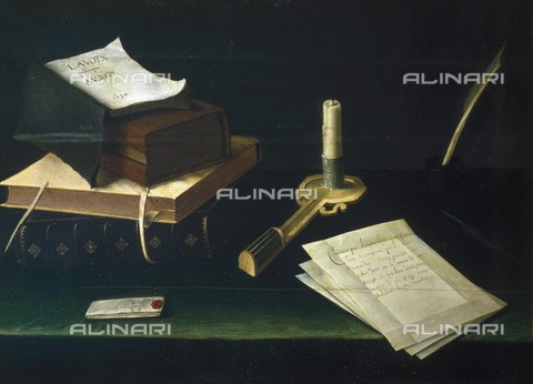 AIS-F-110197-0000 - BAUGIN, Lubin (1610-1683). Books and Letters in the Light of a Candle. Baroque art. ITALY. Rome. Galleria Spada (Spada Gallery). - Iberfoto/Alinari Archives, BeBa