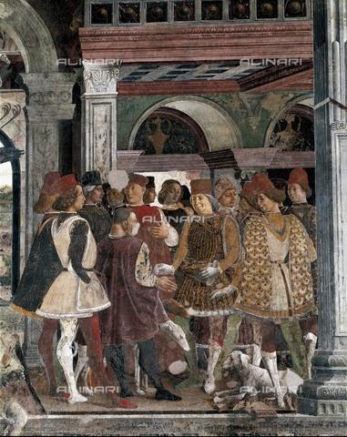 AIS-F-110251-0000 - COSSA, Francesco del (1435-1478). The Month of April. 1469-1470. ITALY. Ferrara. Schifanoia Palace. Detail: the court of Duke of Ferrara. The Duke of Borso d'Este rewards jester Scola. Painting located at the Meses Hall. Renaissance art. Quattrocento. Fre - Iberfoto/Alinari Archives, BeBa
