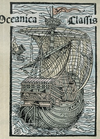 AIS-F-120274-0000 - COLUMBUS, ChrIstopher (1451-1506). Sailor at the Catholic Monarchs' service, discoverer of America in 1492. Caravel Pinta. Engraving from the first Roman edition of Columbus' chart (1493). Engraving. SPAIN. Madrid. National Library. - Iberfoto/Alinari Archives, J. Bedmar