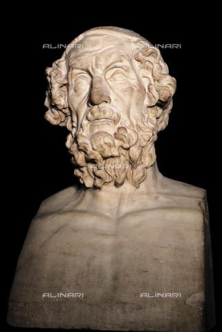 AIS-F-126253-0000 - Marble portrait bust of Homer. 1st-2nd c. Roman art. Early Empire. Sculpture on marble. UNITED KINGDOM. London. The British Museum. Proc: ITALY. Baia. - Iberfoto/Alinari Archives, BeBa