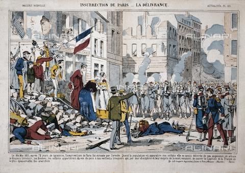 "AIS-F-132331-0000 - France (1871). Commune de Paris. ""Uprising of Paràs. The Liberation"". Entrance of the army into Paris to end the revolutionary government. Engraving. - Iberfoto/Alinari Archives, BeBa"