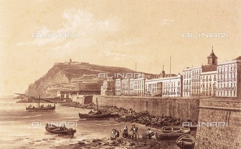 AIS-F-140064-0000 - DEROY, Isidore-Laurent (1797-1886). Waterfront. 19th c. Harbour wall and fishermen. Engraving. - Iberfoto/Alinari Archives, J. Bedmar