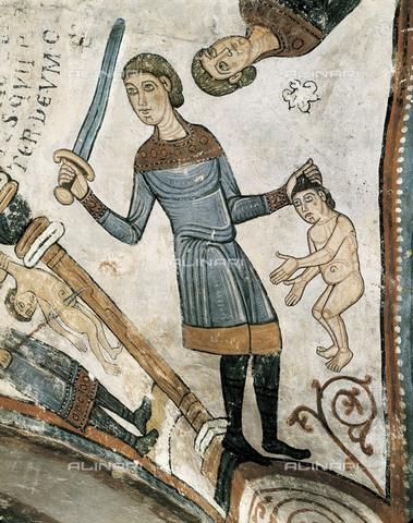 AIS-F-KVD234-0000 - Un soldato del re Erode uccide un bambino durante la strage degli innocenti, affresco, arte romanica, Pantheon Reale della Collegiata di San Isidoro, Leon, Spagna - Iberfoto/Archivi Alinari