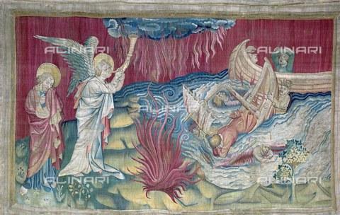 AIS-F-MUP513-0000 - Seconda tromba: il naufragio, 1375-1382, arazzo numero 2 dell'Apocalisse di Angers, Nicolas Bataille (1330 ca.–1399 ca.), Castello di Angers - Iberfoto/Archivi Alinari