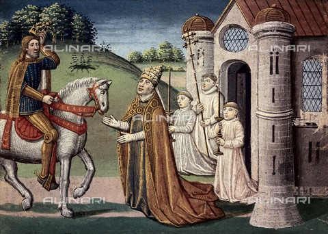 "AIS-F-PTU614-0000 - The meeting between Pope Adrian I and the Emperor Charlemagne, miniature taken from ""The Great Chronicles of France"" (""Grandes Chroniques de France"") by Jean Fouquet (1420-1477 / 1481), edition of Antoine Verard, National Library, Turin - Iberfoto/Alinari Archives"