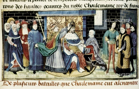 AIS-F-QHK422-0000 - Coronation of Charlemagne, miniature, Carolingian art of the 14th century, Bibliotheque de l'Arsenal, Paris - Iberfoto/Alinari Archives
