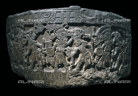 AIS-F-SAA180-0000 - Stone of Tizoc (Temalacatl) or sacrificial stone; from Tenochtitlán, stone, Aztec art of the years 1325-1521, Museo Nacional de Antropología, Mexico City - Iberfoto/Alinari Archives