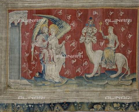 AIS-F-SLF864-0000 - La prostituta che cavalca la bestia, 1375-1382, decima scena dell'arazzo numero 5 dell'Apocalisse di Angers, Nicolas Bataille (1330 ca.–1399 ca.), Castello di Angers - Iberfoto/Archivi Alinari