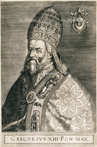 AIS-F-SYT753-0000 - Gregory XIII (1502-1585), engraving, National Library, Paris - Iberfoto/Alinari Archives